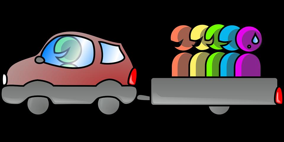 Carpooling, Driving, Car, Men, Fun, Teamwork, Together