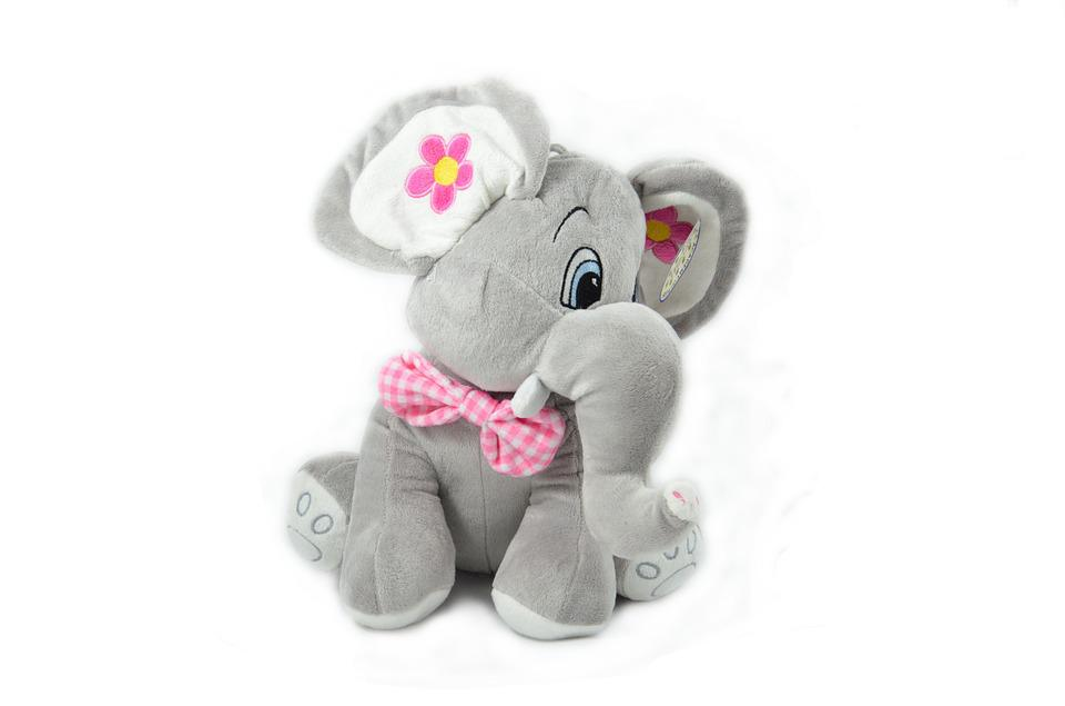 Elephant, Toy, Plush, Play, Fun