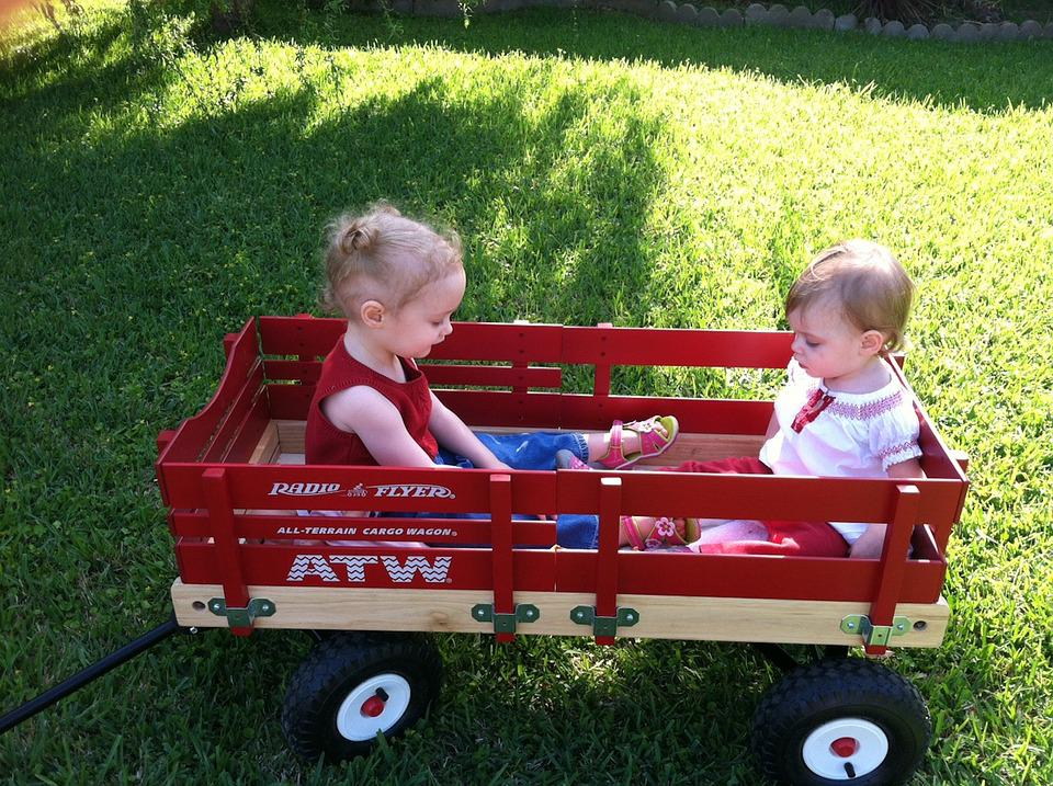 Sister, Wagon, Play, Outdoors, Fun, Red, Children