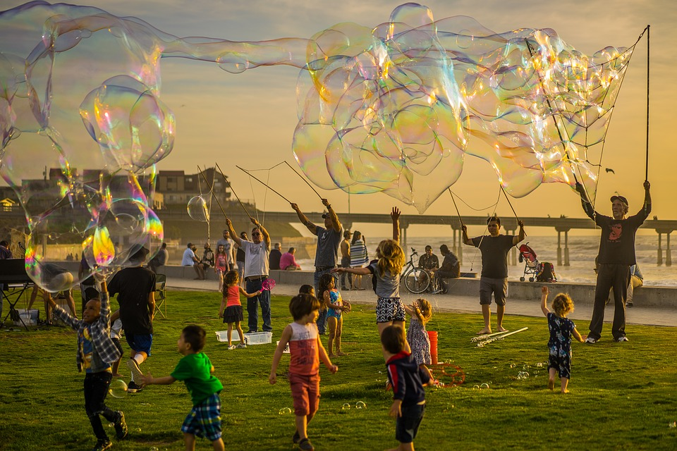 Bubbles, Party, Kids, Jumping, Fun, Sunset, Beach, Pier
