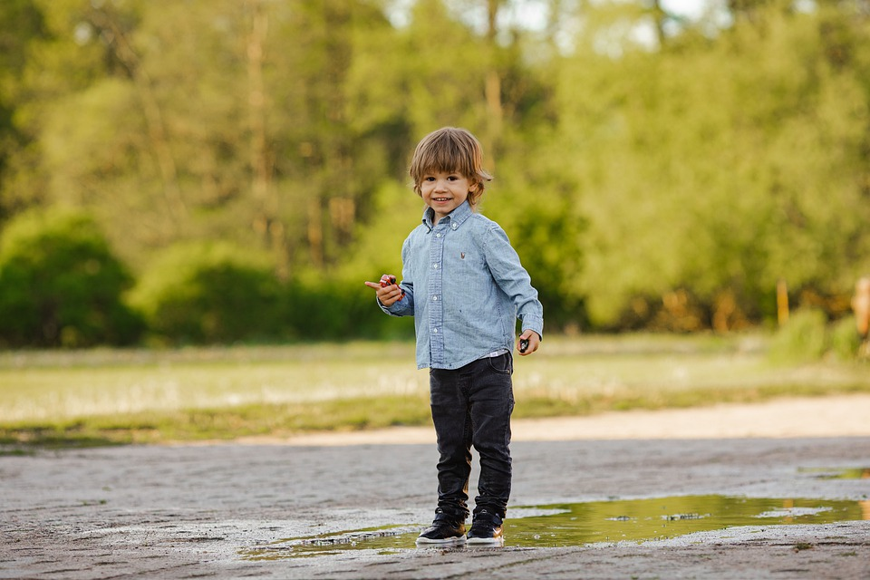 Child, Puddle, Water, Play, Fun, Rain, Happiness, Wet