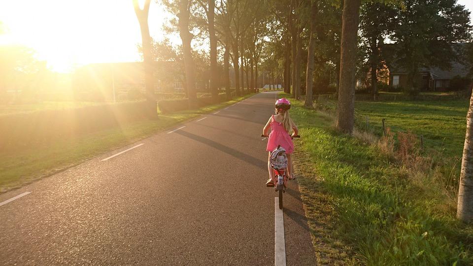 Girl, Riding, Bicycle, School, Ride, Happy, Sport, Fun