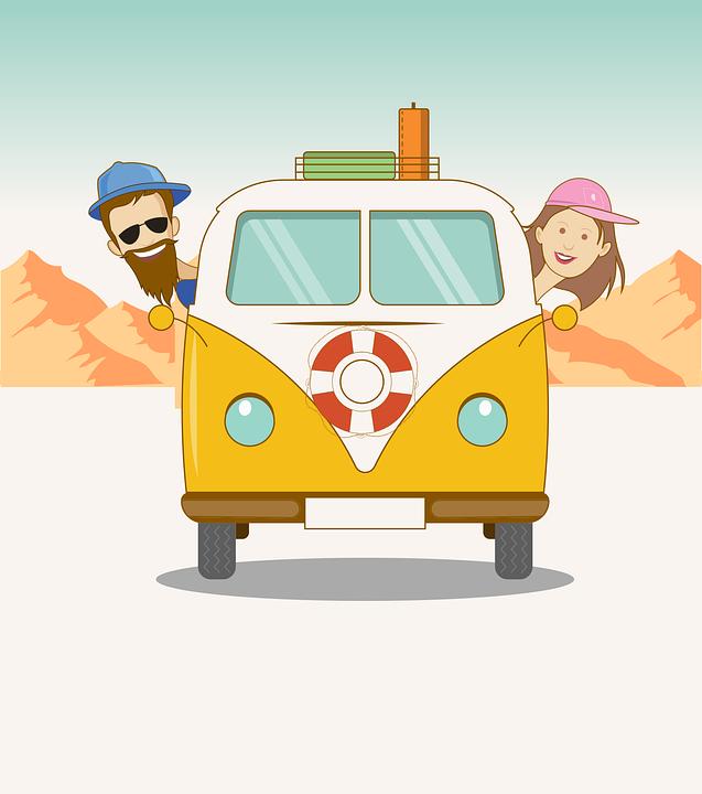 Road Trip, Van, Couple, Travel, Cartoon, Fun