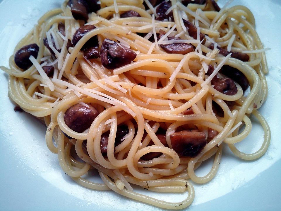 Spaghetti, Pasta, Mushrooms, Noodles, Food, Dish, Fungi