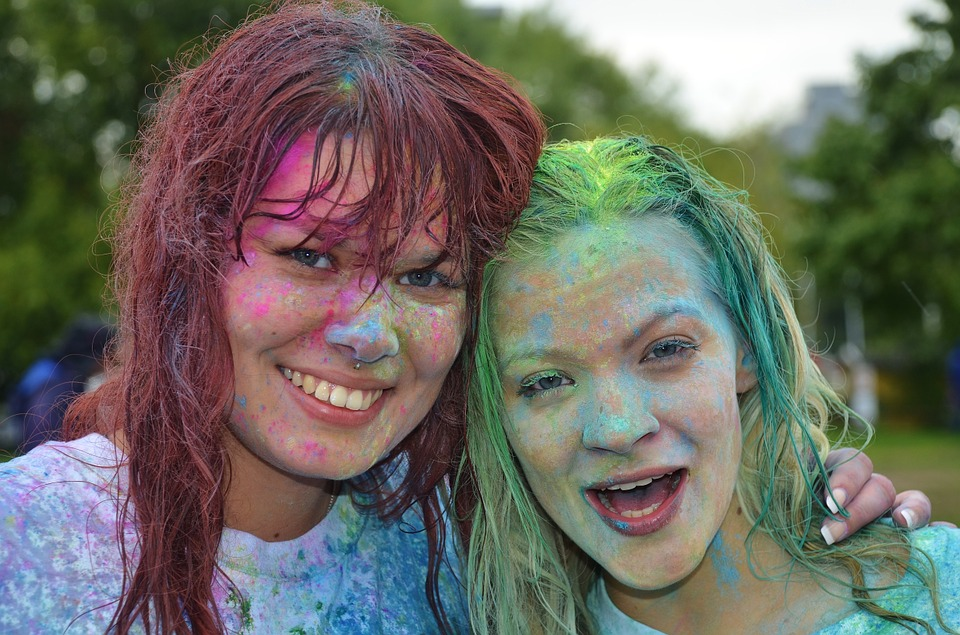 Girls, Colorful, Funny, Celebration, Run, Happy, Party