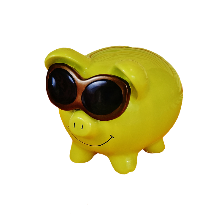 Piggy Bank, Cool, Funny, Green, Cropping, Exemption
