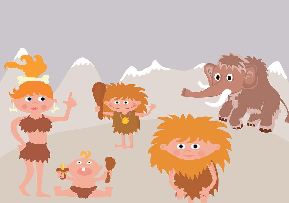 Prehistoric, Mammoth, Family, Primitive Man, Funny