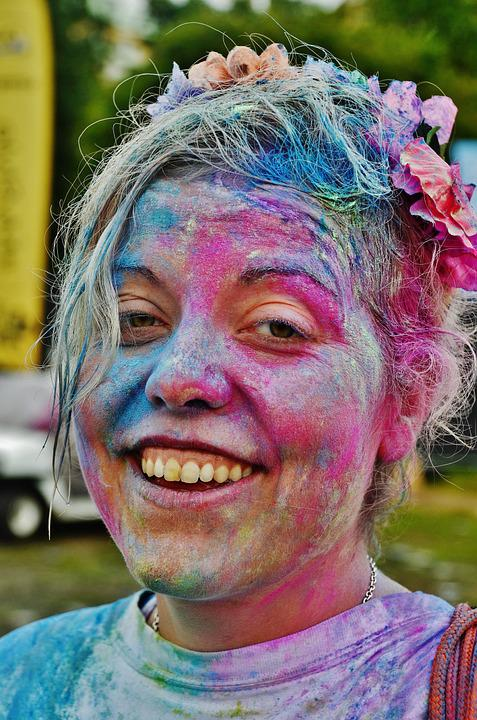 Girl, Colorful, Funny, Celebration, Color Run Festivals