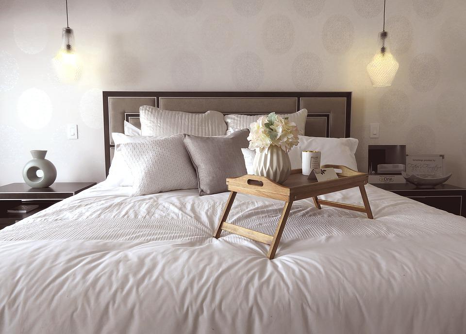 Free photo furniture bedroom apartment bed lamp room tray for Furniture for one bedroom apartment