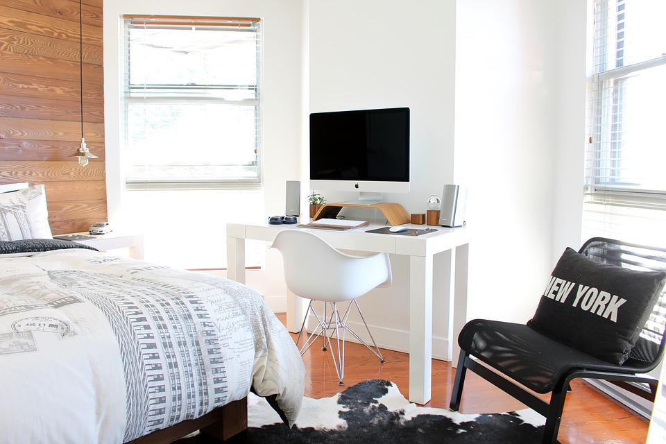 Bed, Bedroom, Chairs, Computer, Furniture, Windows