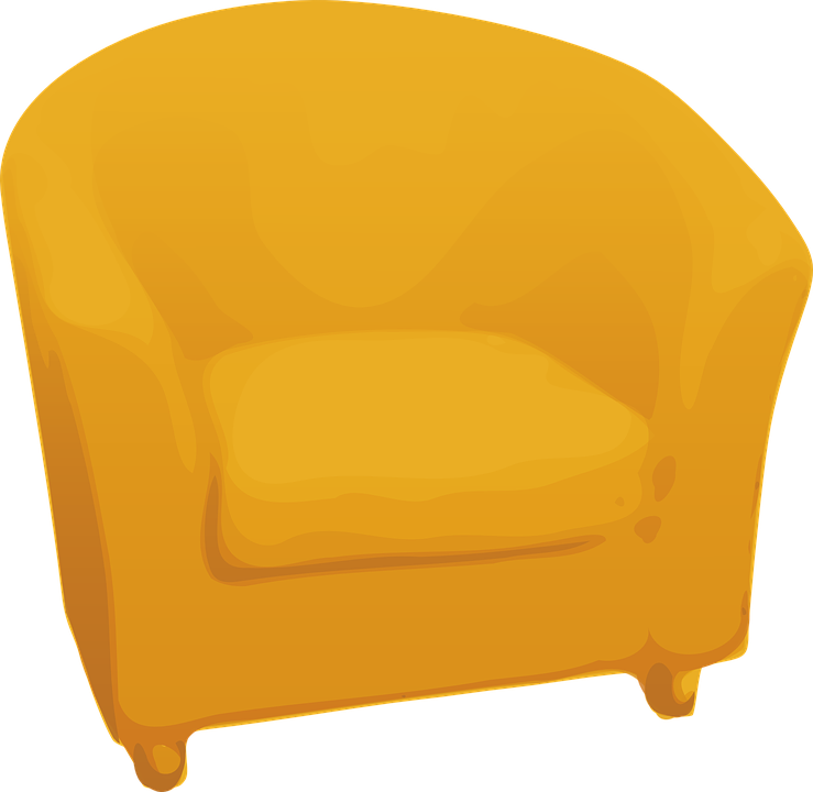 Sofa, Furniture, Golden, Single, Yellow