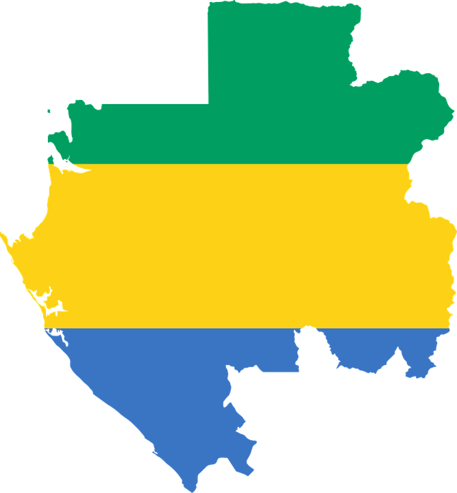 Gabon, Flag, Map, Geography, Outline, Africa, Country