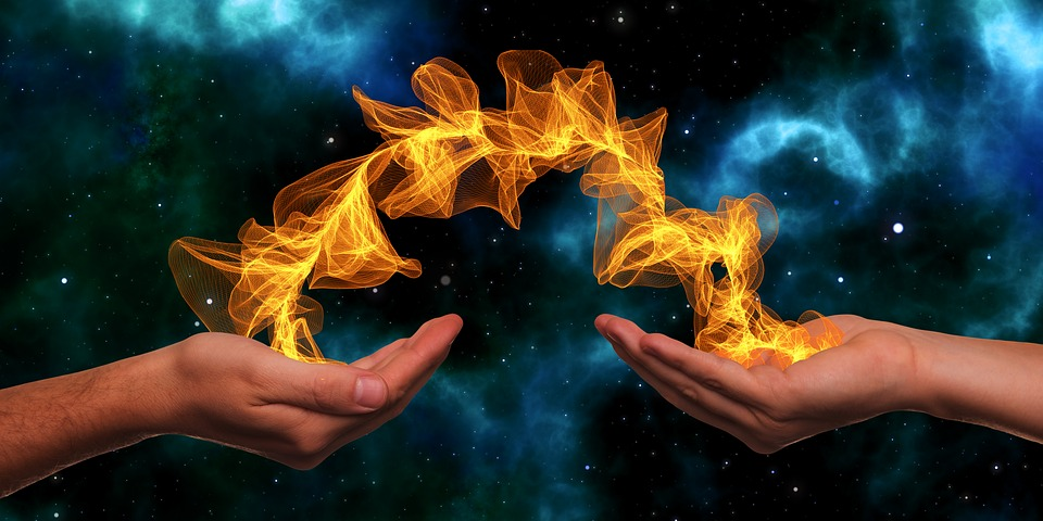 Hands, Particles, Galaxy, Star, Universe, Energy