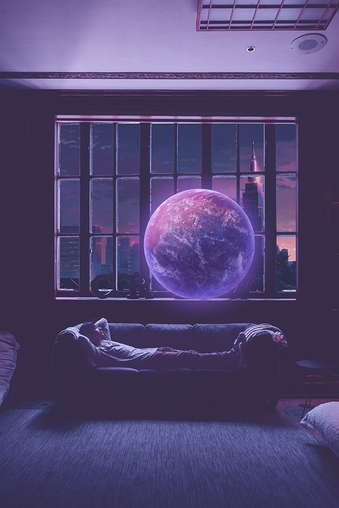 Space, Galaxy, Manipulation, City View, Sky, Man, Lying