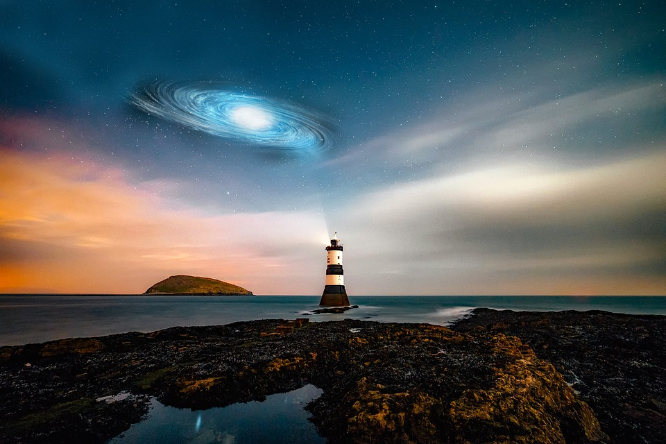 Lighthouse, Universe, Sky, Night, Planet, Space, Galaxy