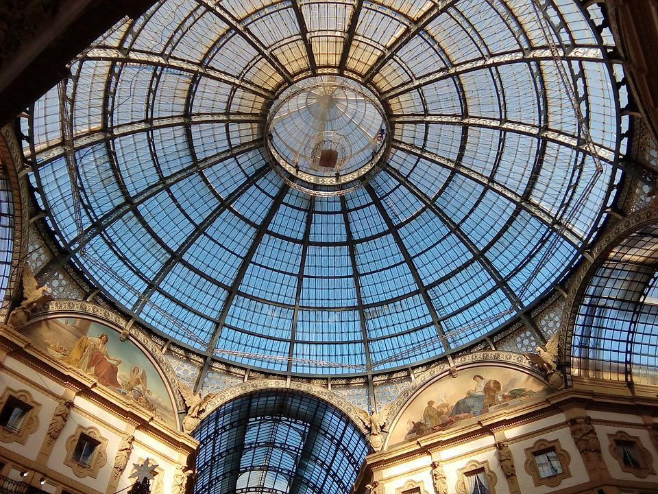 Milan, Gallery, Italy, Lombardy, Stained Glass Window