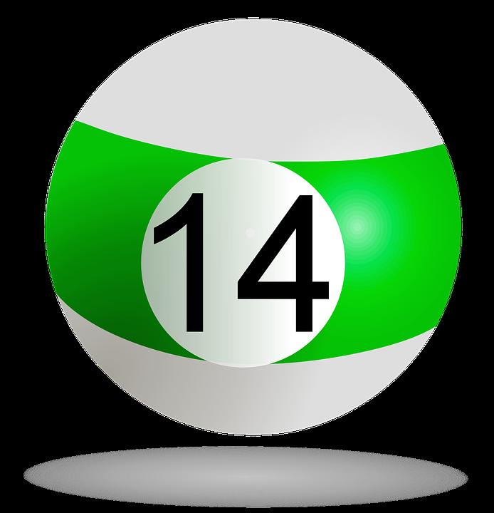 Billiard Ball, Green, 14, Pool, Billiard, Game, Striped