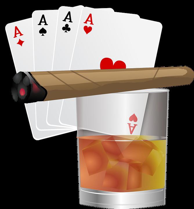 Poker, Aces, Cards, Cigar, Drink, Gambling, Game