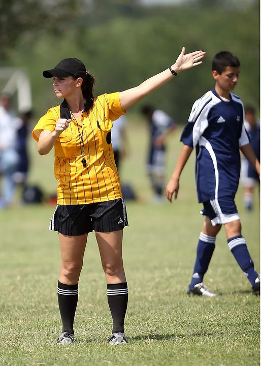 Soccer, Referee, Female, Football, Sport, Game, Match