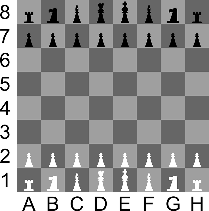 Chess, Board, Game, Meeples, Squared, Black, White