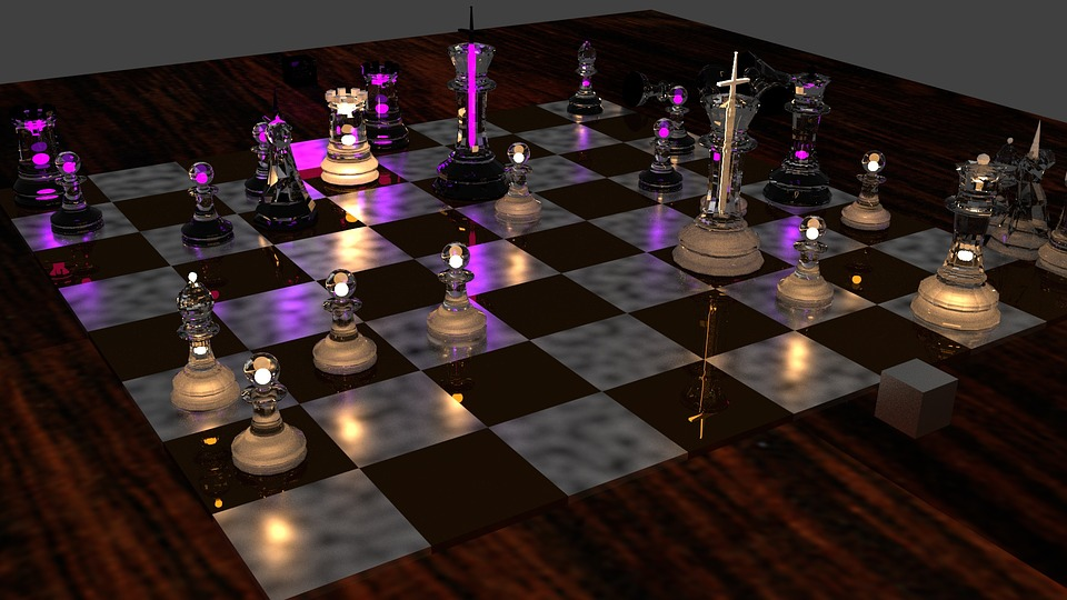 Chess, Game, Render, Purple, Black, Pawn, White, Knight
