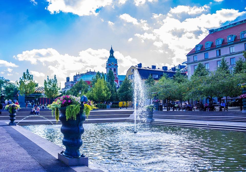 Stockholm, Sweden, Park, Fountain, Architecture, Gamla
