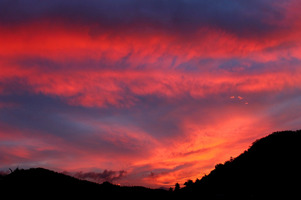 Sunset, Silhouette, Gampola, Landscape, Wilderness