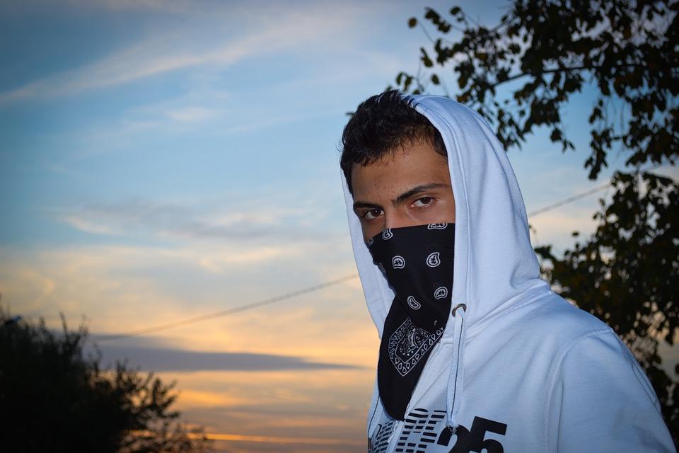 Guy, Teenager, Covered Face, Gangster, Hood, Masked