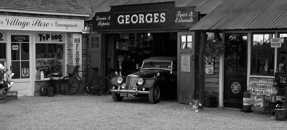 Vintage Car Garage Shop Sign Oldtimer