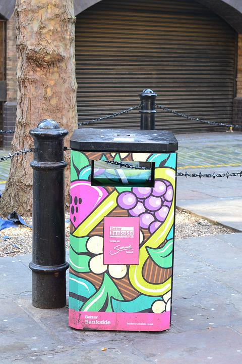Garbage Can, Colorful, Art, London, Color