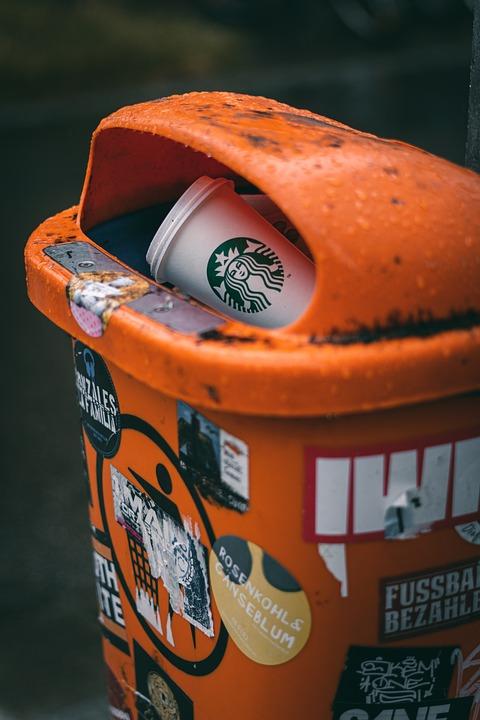 Starbucks, Garbage Can, Garbage, Waste, Disposal