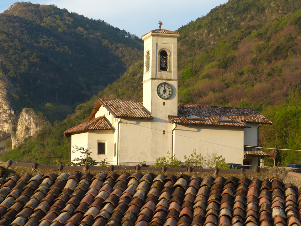Church, Steeple, Pregasina, Garda, Italy, Old