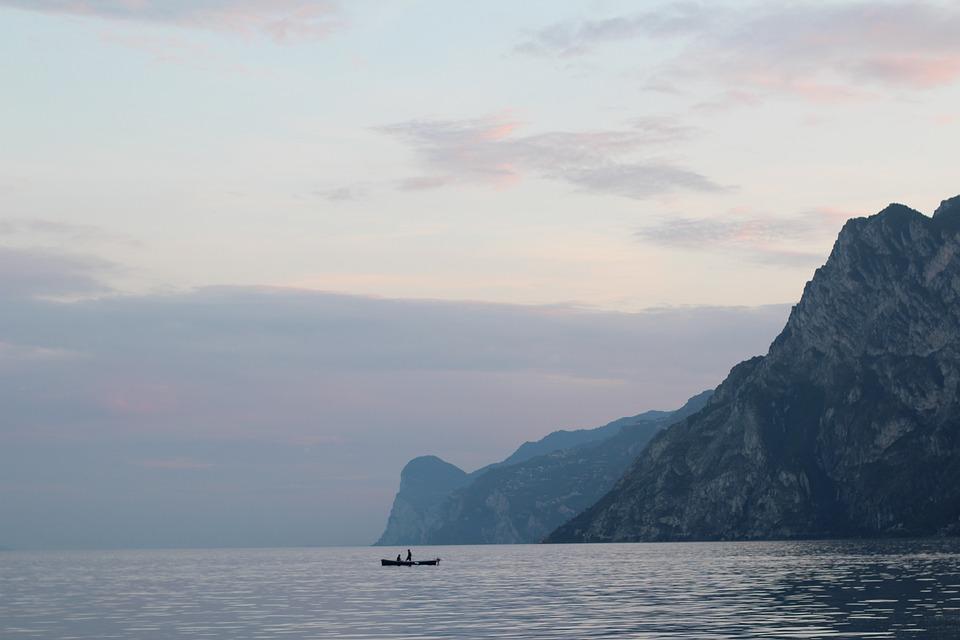 Sunset, Garda, Boot, Torbole, Italy