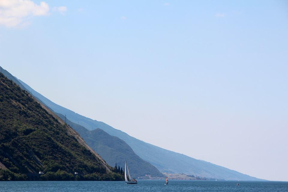Garda, Italy, Lake, Landscape, Mountains, Water Sports