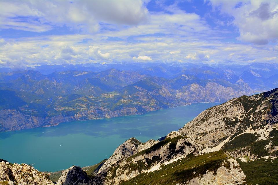 Mountains, Lake, Garda, Baldo, Alps, Italy, Sky, Clouds