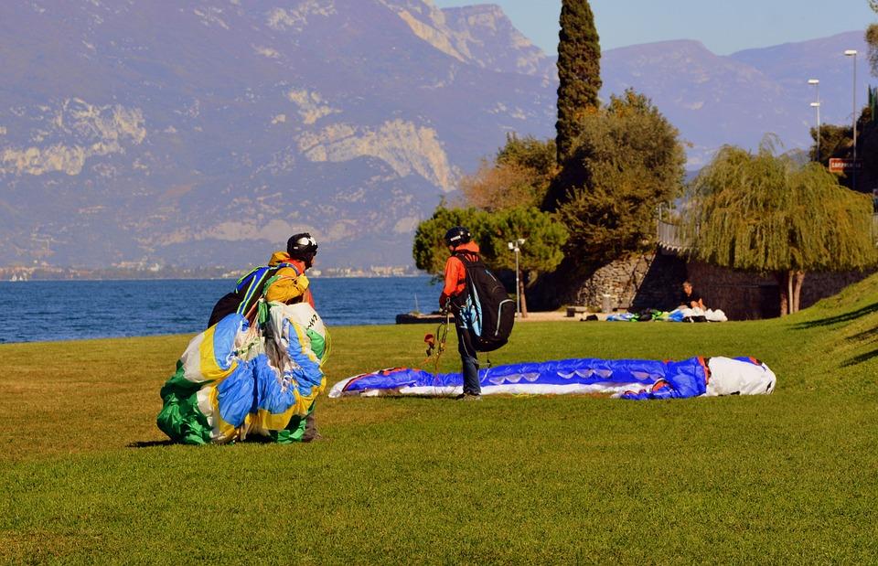 Paragliding, Arrival, Prato, Walk, Lake, Garda, Italy