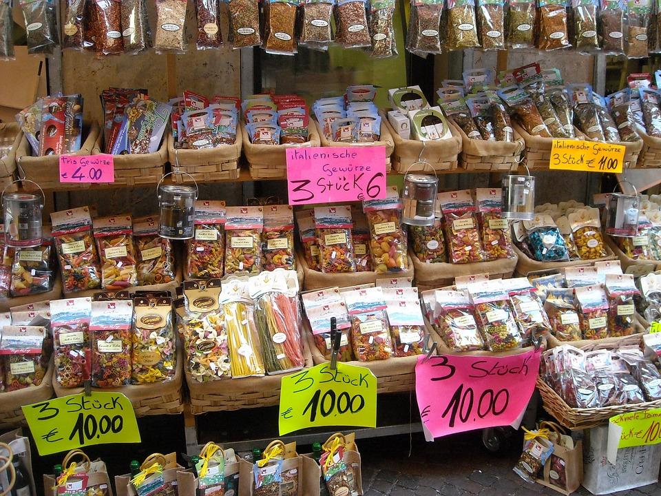 Market, Sales Stand, Market Stall, Pasta, Italy, Garda