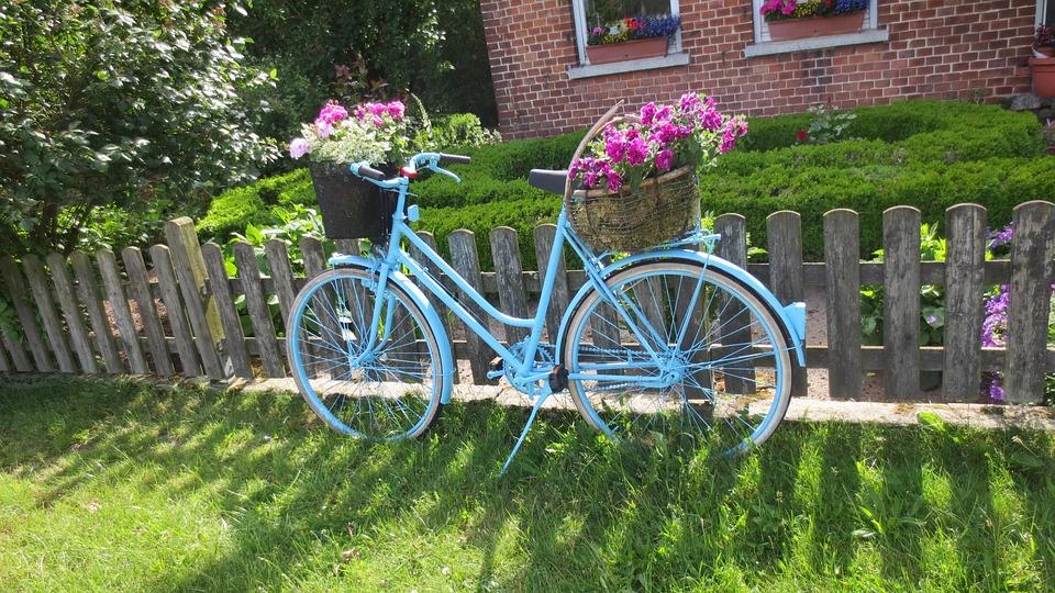 Bike, Art, Garden, Flowers, Beautification, Front Yard