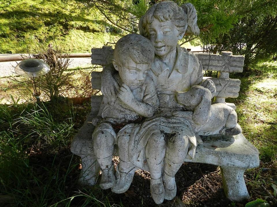 Statues, Children, Dogs, France, Pierre, Nature, Garden