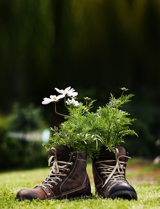 Flowers, Shoes, Meadow, Garden, Deco