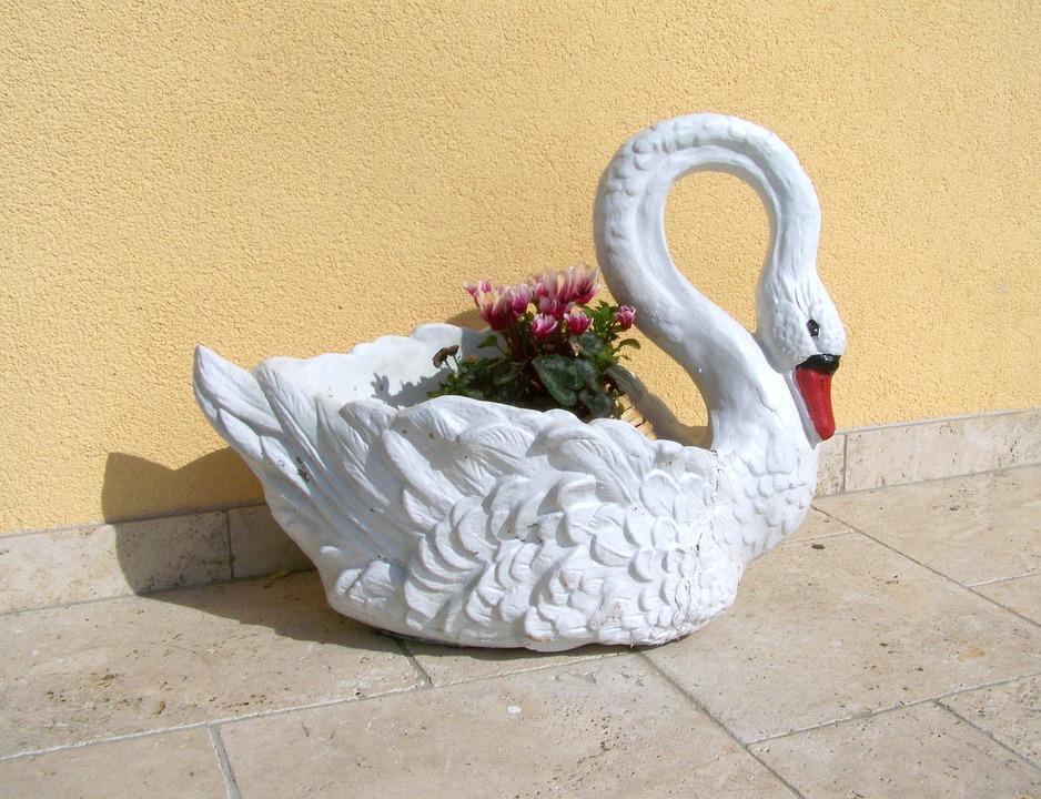 Swan, Garden Decor, Spring Flower