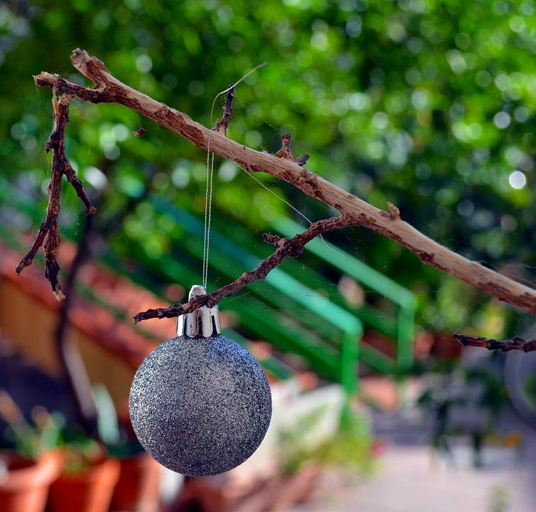 Christmas Ball, Christmas Tree, Garden, Decorations