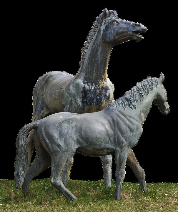 Horses, Group, Figurengruppe, Garden Figurines