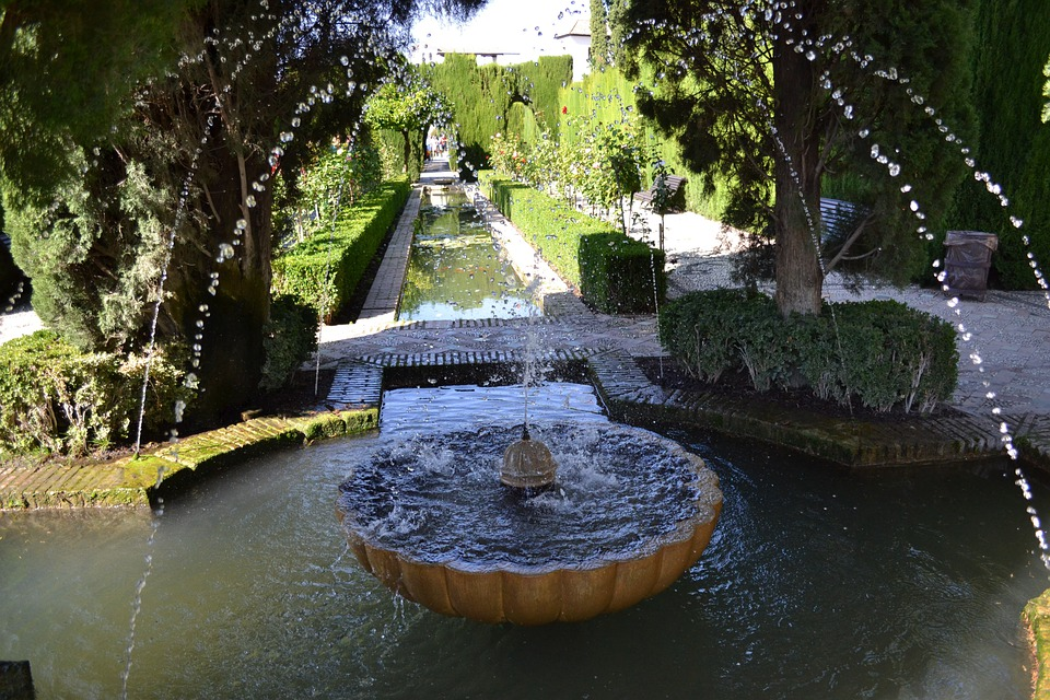 Fountain, Alhambra, Granada, Garden, Spain