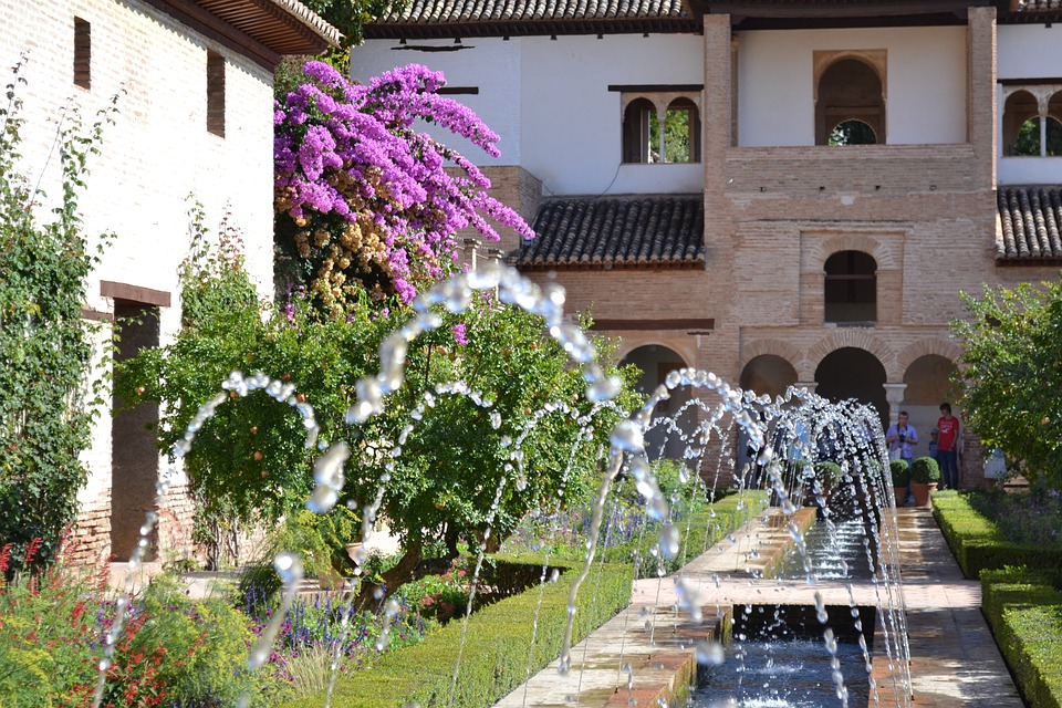 Fountain, Alhambra, Granada, Garden, Spain