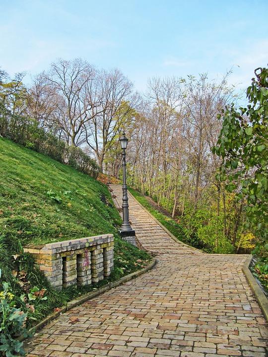Spring, Paving Stone, Grass, City, Lantern, Garden