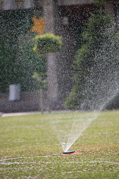 City, Garden, Grass, Green, Heat, Spraying, Sprinkler