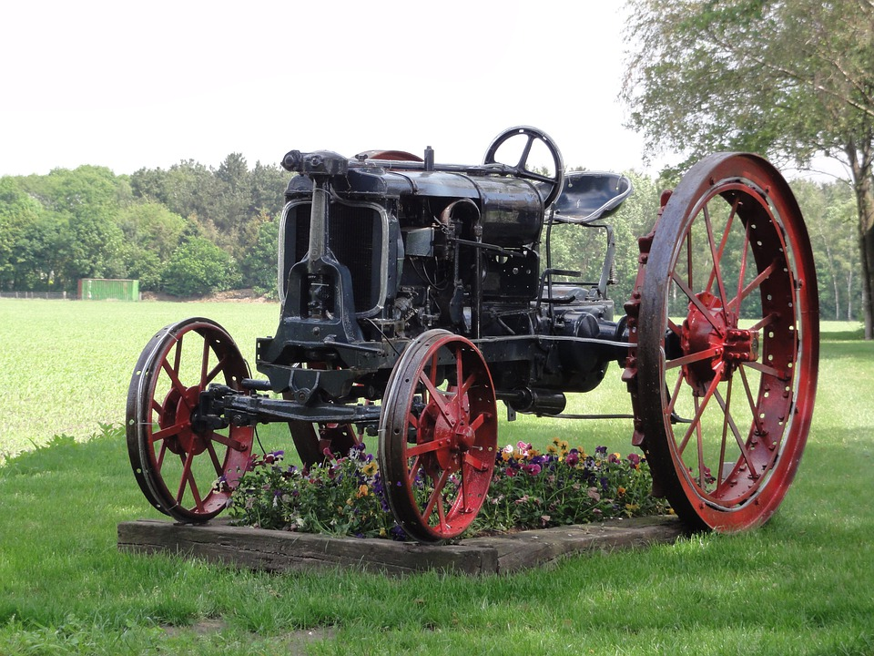 Netherlands, Tractor, Old, Antique, Landscape, Garden