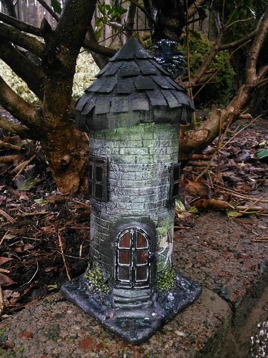 Fairy, House, Garden, Ornament, Mixed Media, Tower