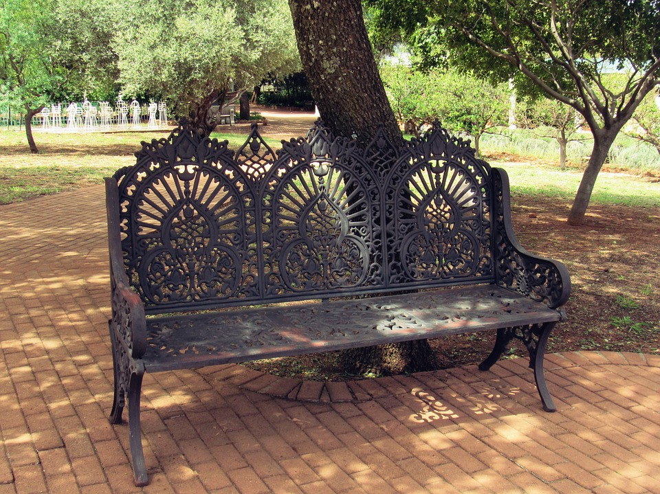 Bench, Tree, Garden, Rest, Paving, Iron, Nature, Green